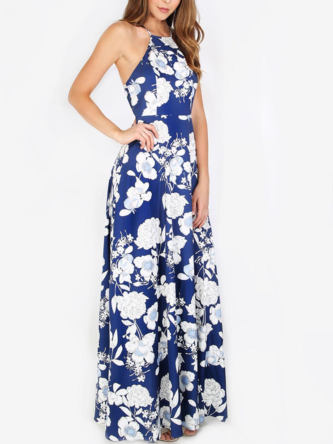 Vestido escote halter flores maxi -azul en 2018 | DRESS | Pinterest ...