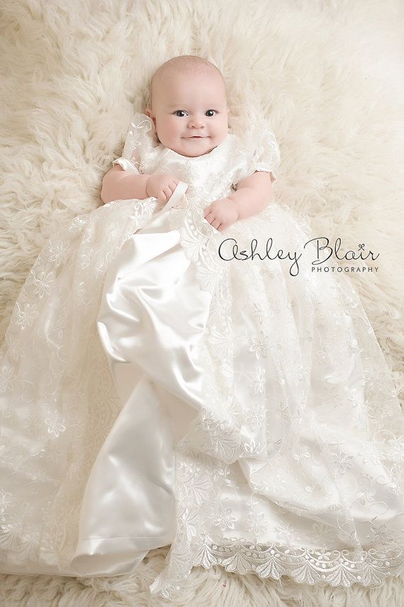 Stunning Off White Lace Christening Gown, Baptism, Dedication, 0 - 3 ...