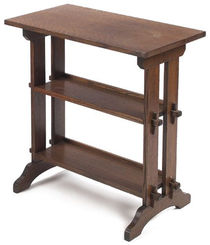 Delightful Roycroft Little Journeys Stand, Rectangular Top Over Two Shelves With  Keyed Tenon Construction,