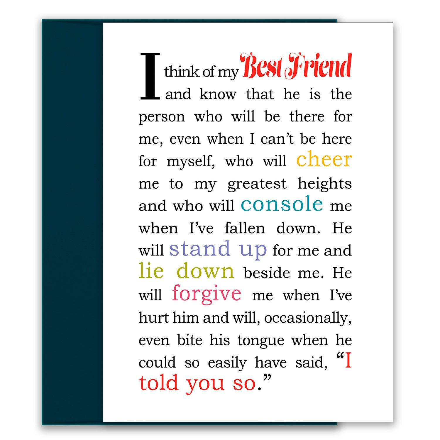 I Think of My Best Friend Greeting Card - Card for Male Best Friend