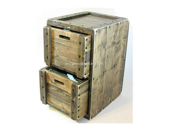 File Cabinet Rustic Solid Wood Office Filing Cabinet 2 Drawer ...