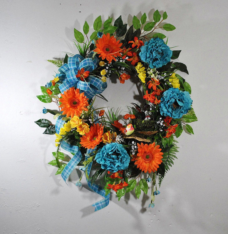 Easter wedding bouquets  Turquoise summer wreath for front door orange summer wreath summer