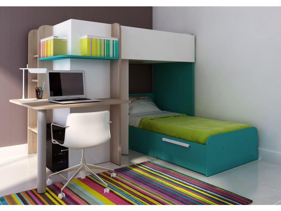 kinderbett hochbett samuel inklschreibtisch 2x 90x190cm trkisblau - Coolste Etagenbetten Mit Schreibtisch