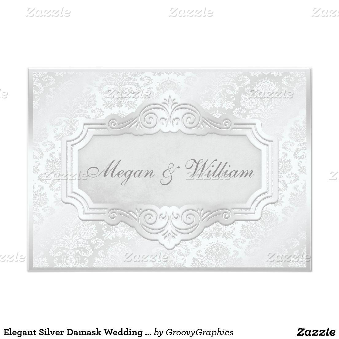 Elegant Silver Damask Wedding Reception 5x7 Paper Invitation Card ...