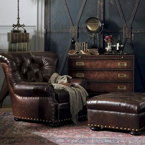 Ralph Lauren Leather Writers Chair and Ottoman   Muebles   Pinterest ...