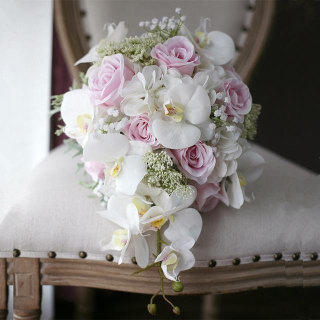 Cascading Blush Pink Wedding Bouquet #pinkbridalbouquets