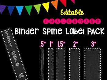 Editble Chalkboard Binder Spine Label Pack  Binder Spine Labels