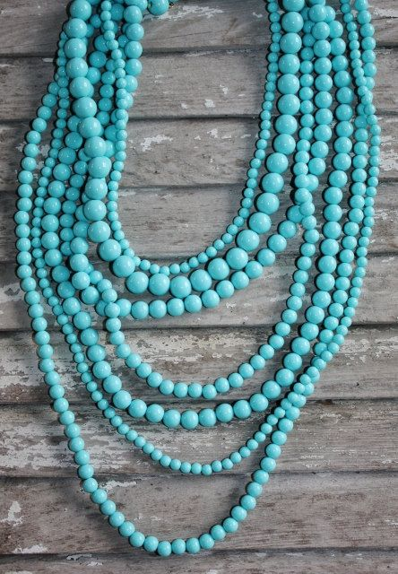 statement necklace -natural gemstone faceted beaded jewelry unique gift for her bright light blue Turquoise blue Amazonite necklace