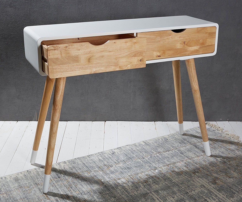 Weisser Konsolentisch Aus Holz Mit Zwei Schubladen Im