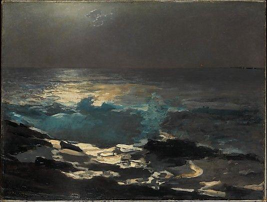 """Moonlight, Wood Island Light"" ... by Winslow Homer - 1894  Oil on canvas."
