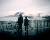 Rainy Day Couple 8x12 Fine Art Photography san francisco fog print umbrella surreal couple blue