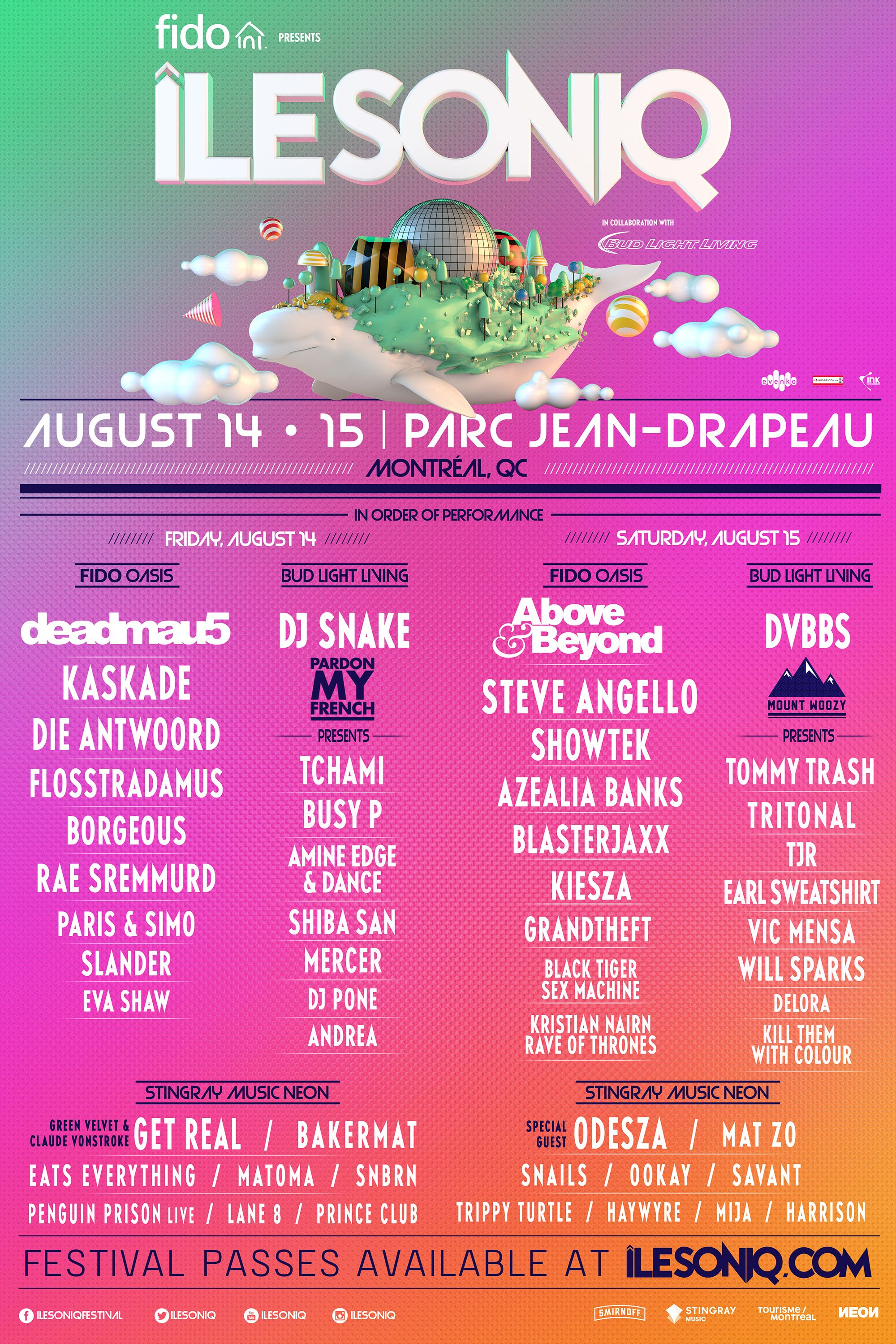 Win 2 tickets to the ÎleSoniq Music Festival in Montreal! | Posters