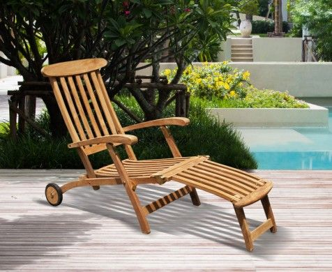 teak steamer chair charles eames lounge halo with cushion wheels brass fittings free sit back and relax in this beautifully crafted patio