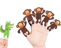 Five Little Monkeys Swinging In The Tree Paper Finger Puppets Printable Pdf Toy Diy Craft Kit Paper Toy Party Favor Paper Toys Craft Party Diy Craft Kits