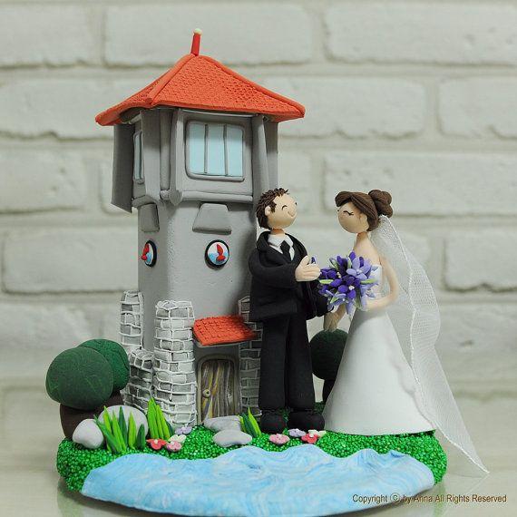 Lighthouse Beach Custom Wedding Cake Topper By Annacrafts On Etsy 25000