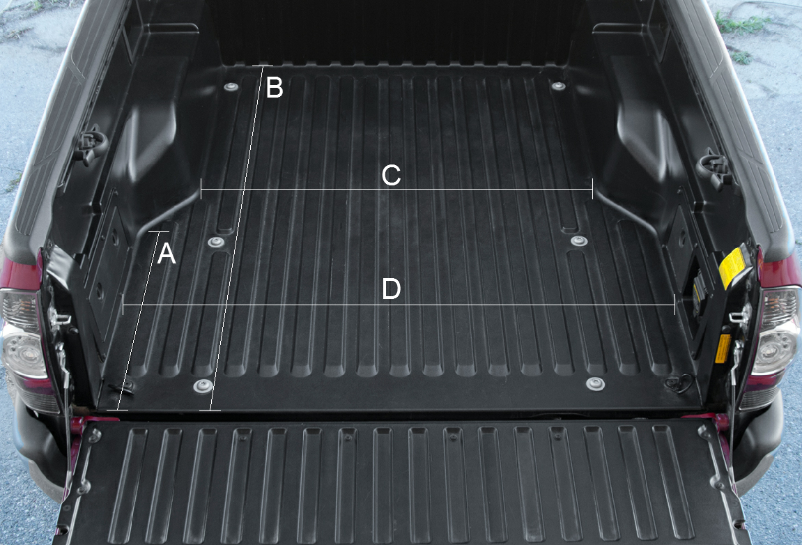 Detailed bed dimensions truck, Truck bed, Toyota