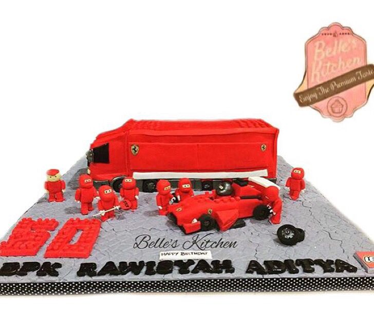 Scuderia Ferrari Truck Cake By Belle's Kitchen, To Order Contact Our WA: 081294055786, Line: Bellekitchen, Also Be Sure To Follow Our Instagram @belle_kitchen