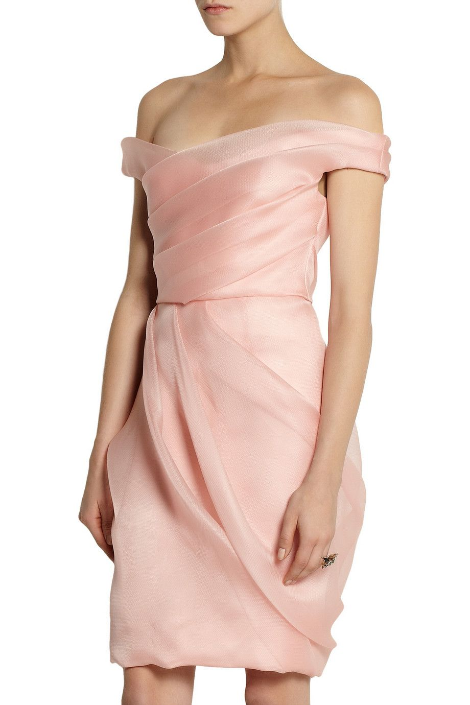 Lela Rose Pleated silk-organza dress … | Pinteres…