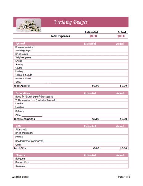 wedding budget planner microsoft office template wedding