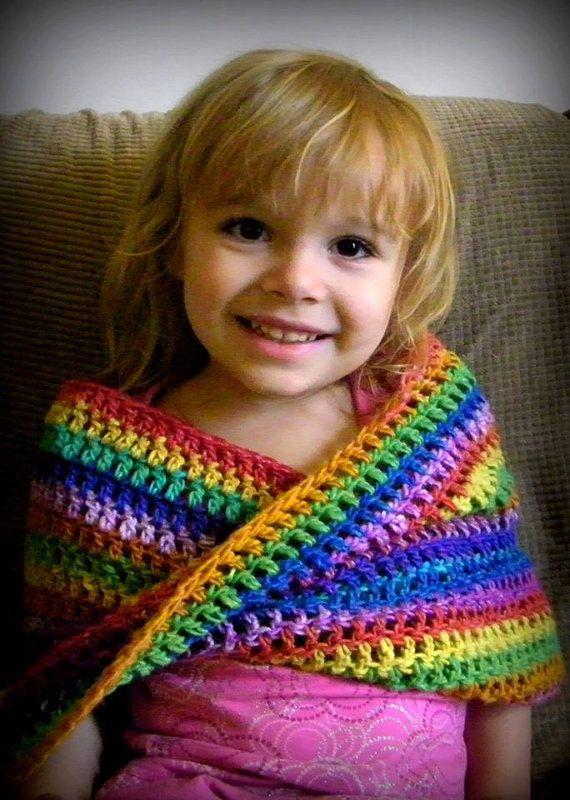 Kids Rainbow Twisted Crochet Cowl or Mobius Shawl by LeLeFox | LeLe ...