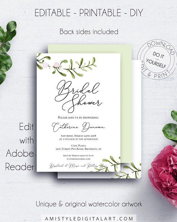 Rustic Bridal Shower Invitation, with pretty and unique watercolor - bridal shower template