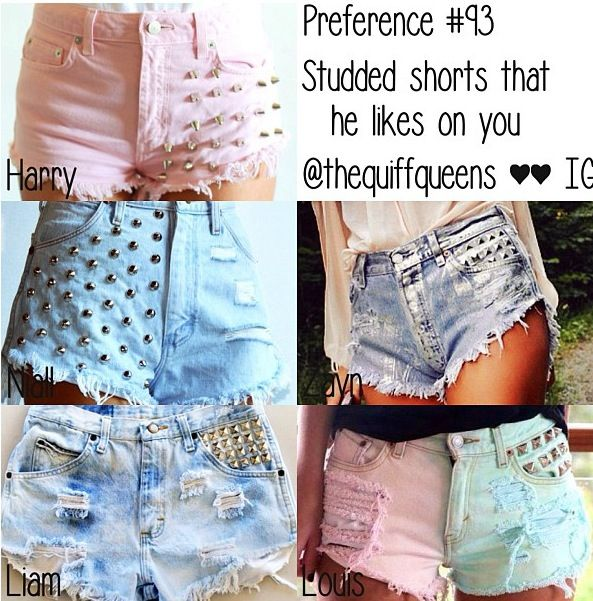 Studded shorts that he likes on you