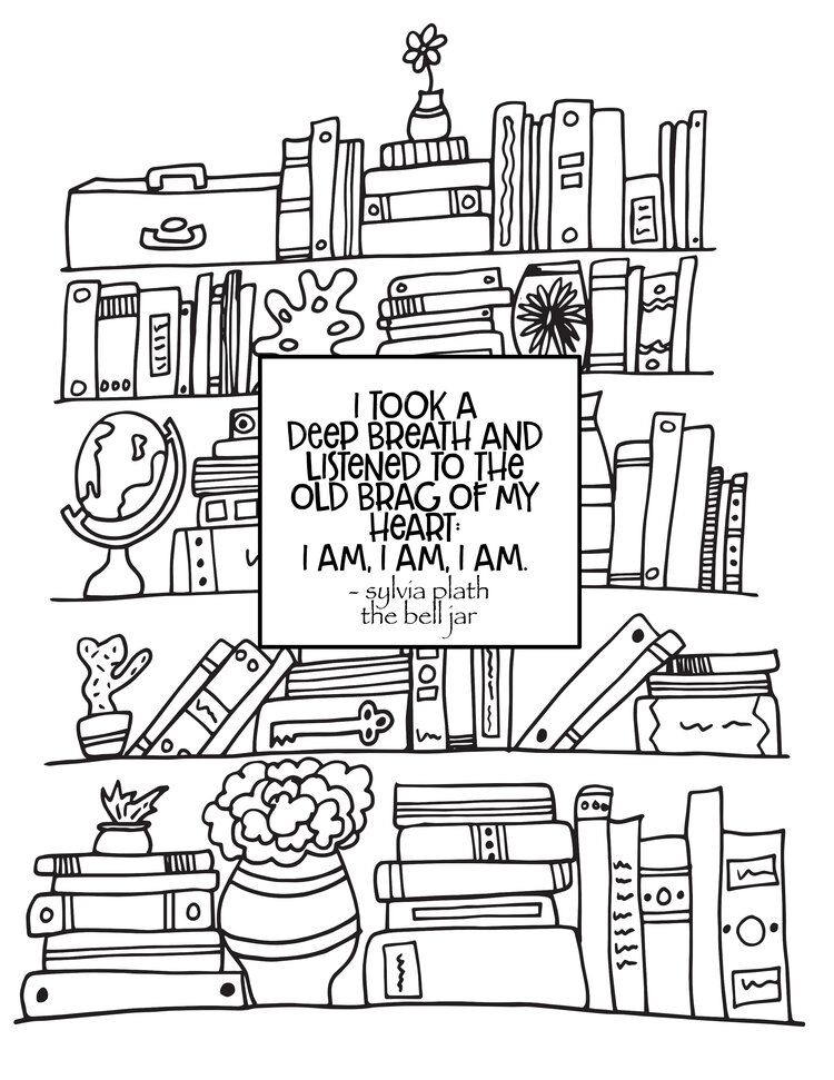 Bookshelf The Bell Jar Quote Free Bookshelf Coloring Page