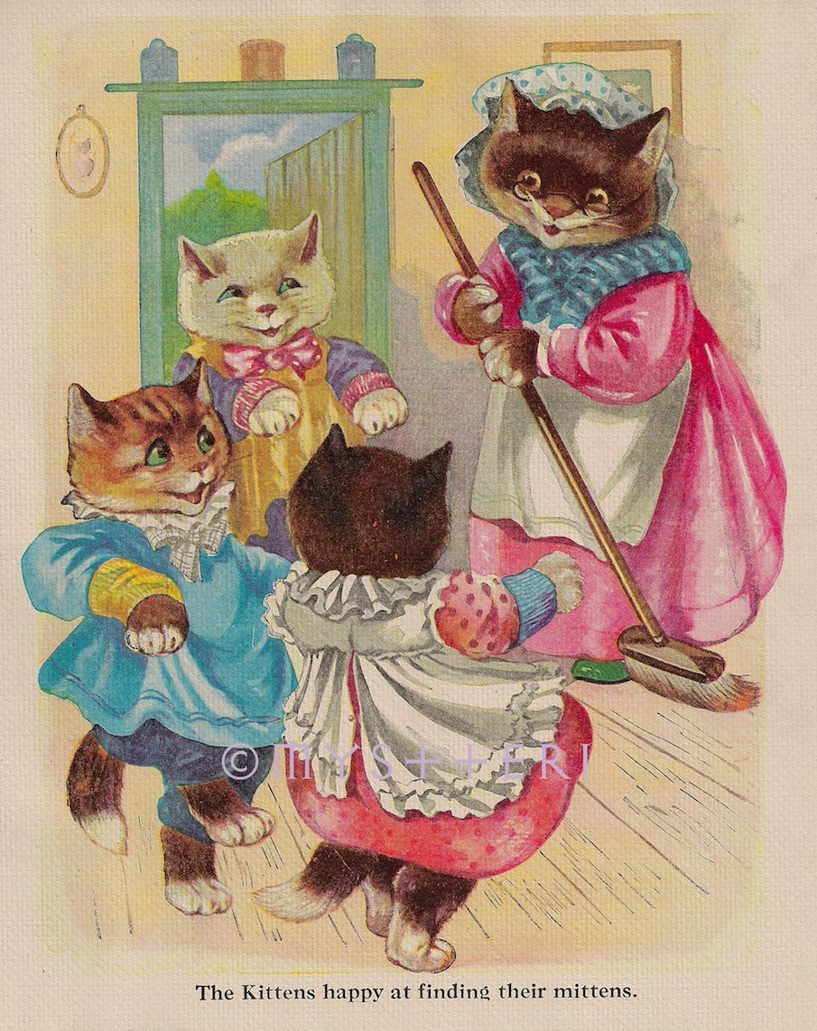 Details About Happy Three Little Kittens Antique Vintage Color Art