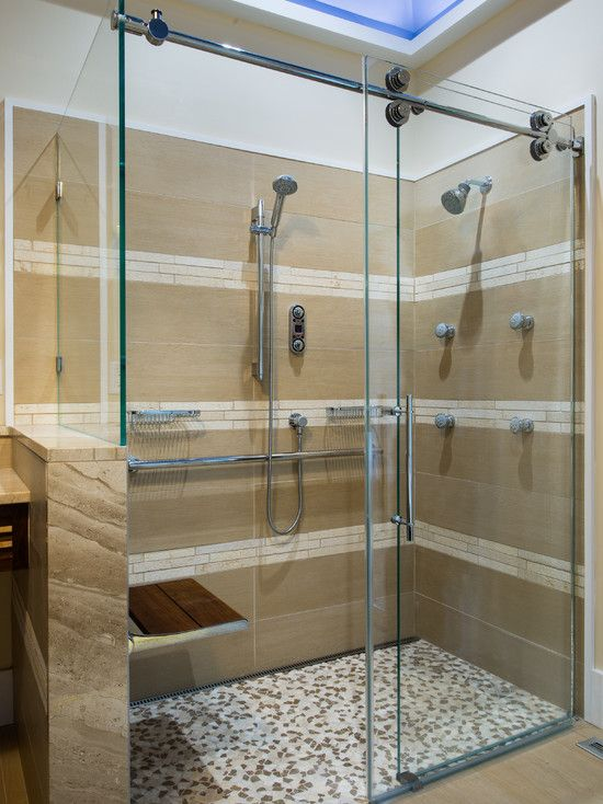 Master Bath - Asian Green Spa Shower Design, Pictures, Remodel, Decor and  Ideas