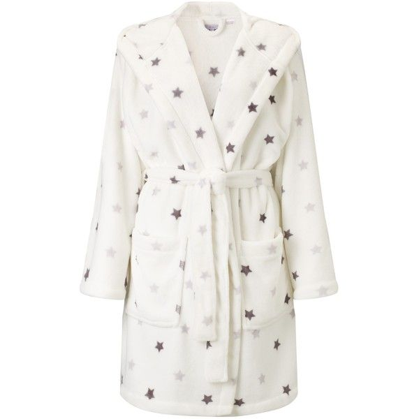 John Lewis Star Print Hooded Robe, Ivory (€20) ❤ liked on Polyvore ...