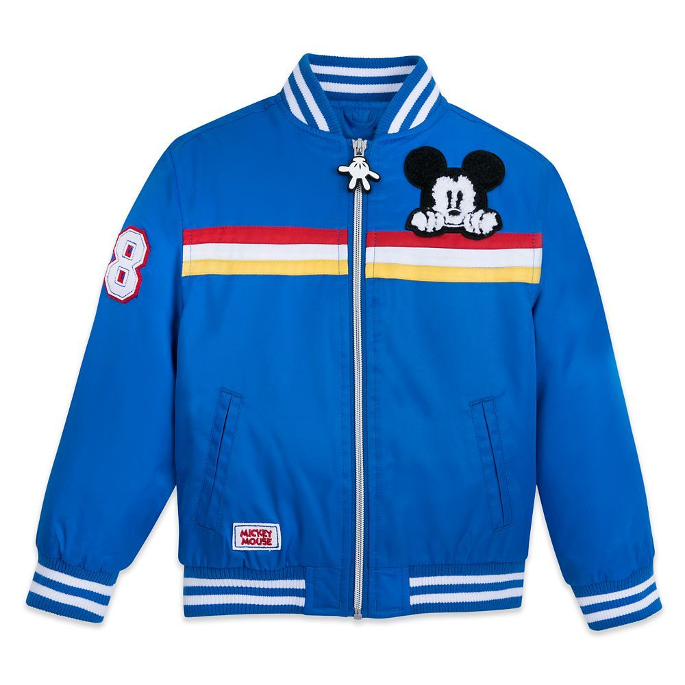 This Bold Bomber Jacket Will Make A Swell Style Statement On The Playground The Bright Blue Body Is Accented With Stripe Varsity Jacket Jackets Chambray Shirt [ 1000 x 1000 Pixel ]