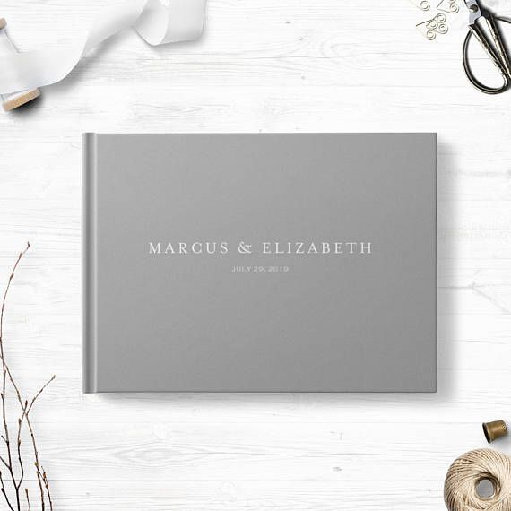 Gray Wedding Guest Book Landscape Or Portrait Wedding Guest Wedding
