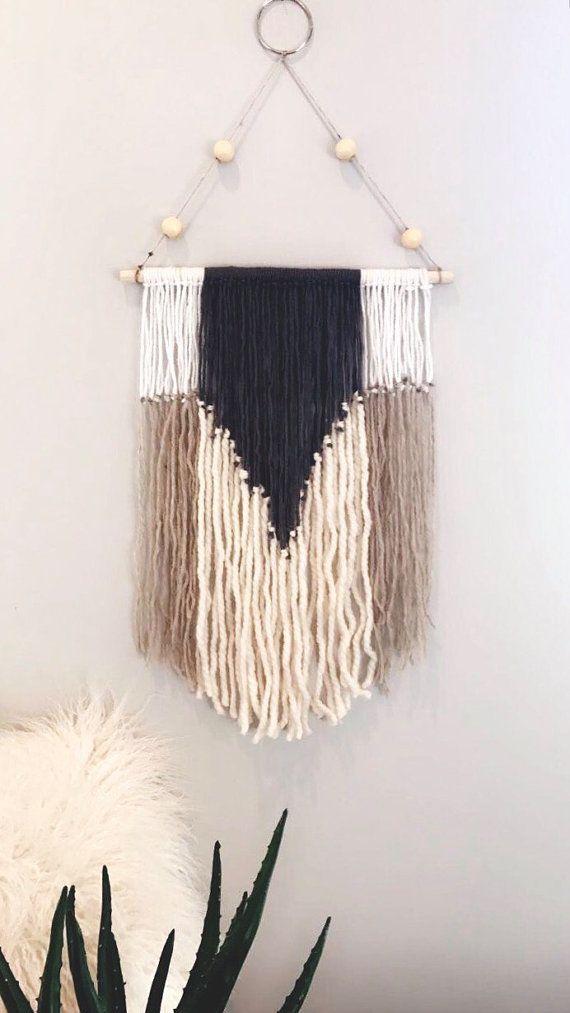 Boho wall decor | yarn wall hanging | yarn macrame | wall decor ...