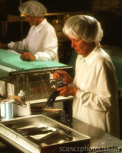 Instruments being prepared for sterlization