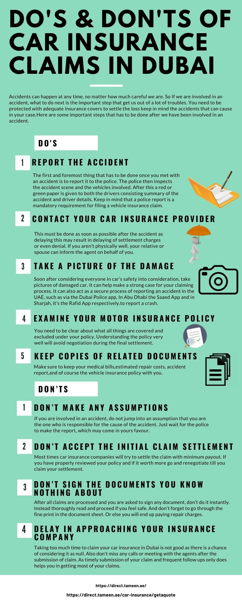 Do's and Don'ts of Car Insurance Claims in Dubai Car