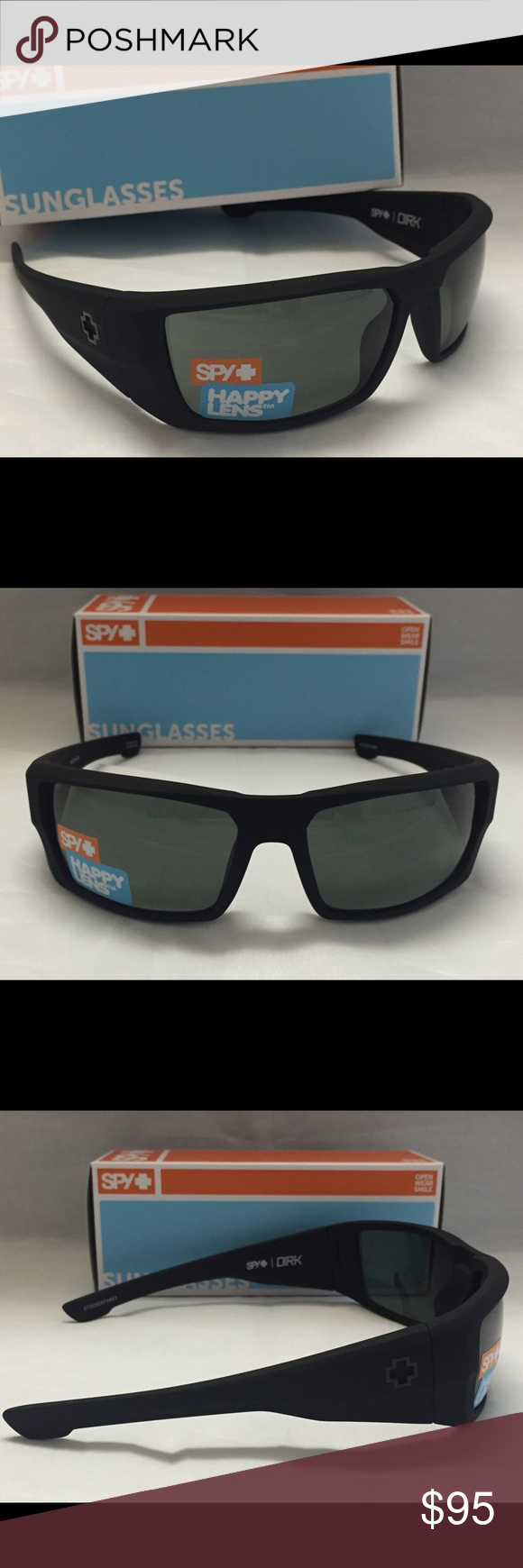 b3b77ffa84638 Spy Optic Dirk Sunglasses Matte Black w Happy Lens Brand new in the box Spy  Optic Dirk Sunglasses with Soft Matte Black Frame and Happy Gray Green Lens.