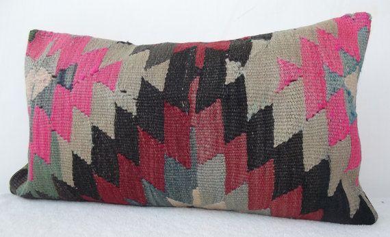 Light Grey Pink Black Modern Geometrick Lumbar Kilim Pillow Cover, Handwoven Lumbar Pillow,  Anatolian  Lumbar Piillow 11.8 - 21.2  ' inch