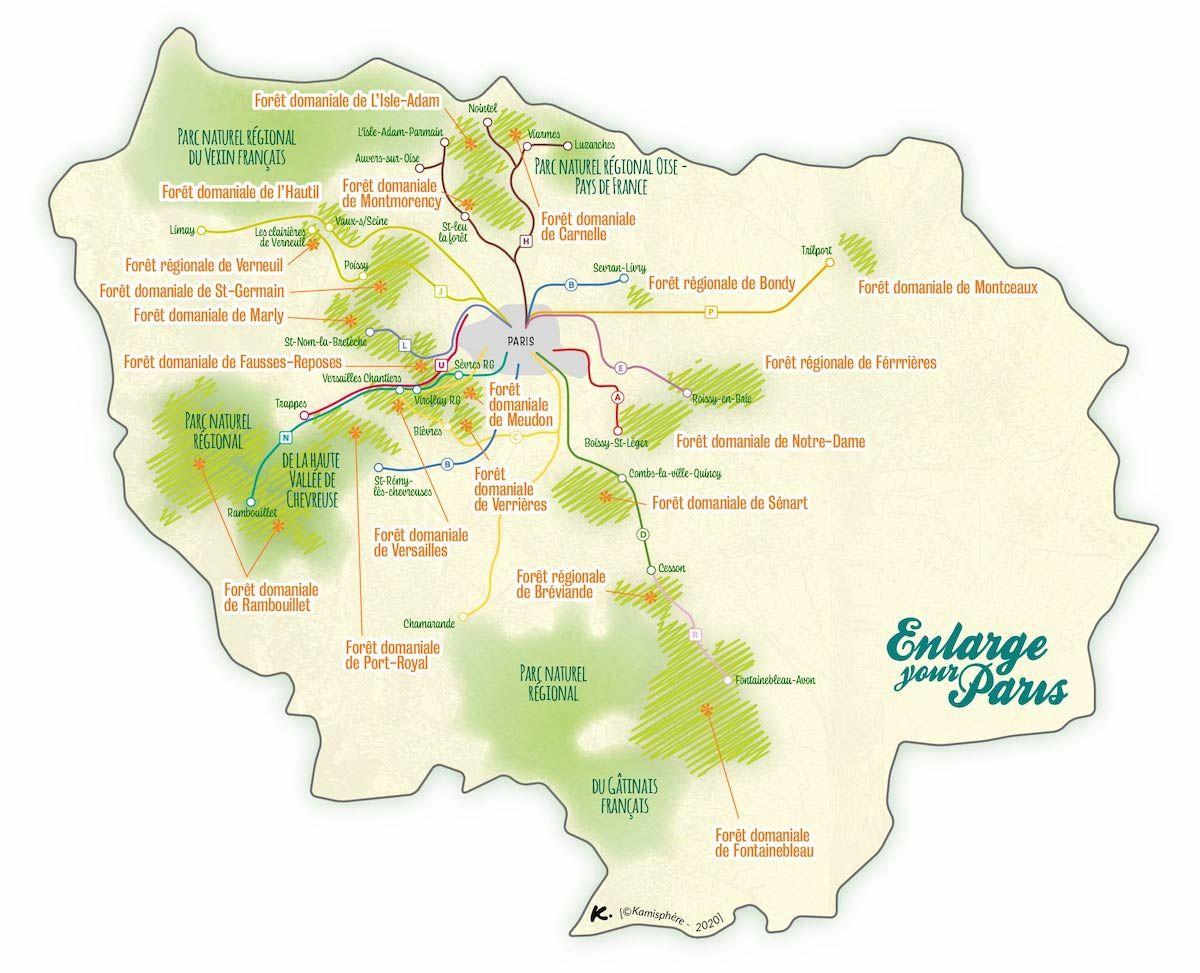 La carte des forêts d'Île-de-France accessibles en train en 2020 | Ile de france, Ile, Transport ...