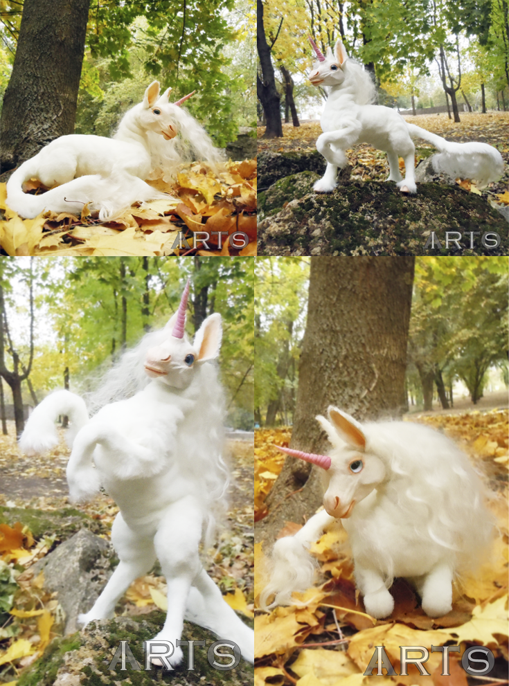 Fully Poseable Ooak Handmade Plush Toy Baby Unicorn Kirin Animal