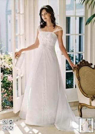 43321088f9ca David's Bridal Satin A-line With Chiffon Split Front Overlay Wedding Gown,  59% off | Recycled Bride