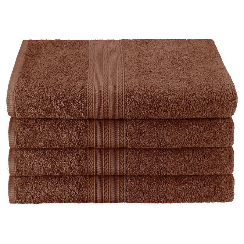 Superior Eco Friendly 100 Ringspun Cotton 4 Piece Bath Towel Set Brown Ef Bath Br Products Bath Towels Bath Towel Sets Towel Set
