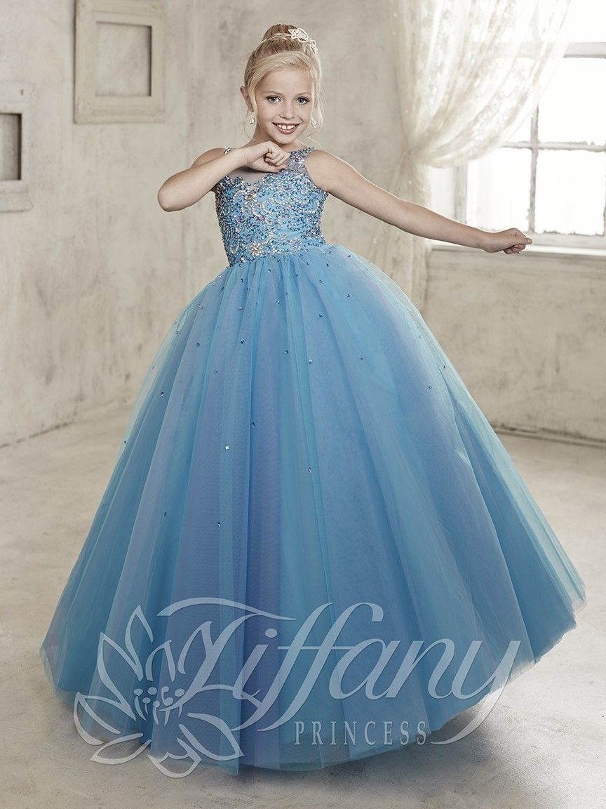 new arrival blue girls pageant dress lace up back beaded