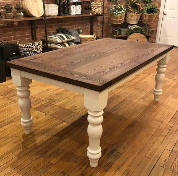 Unfinished Farmhouse Dining Table Legs Wood Turned