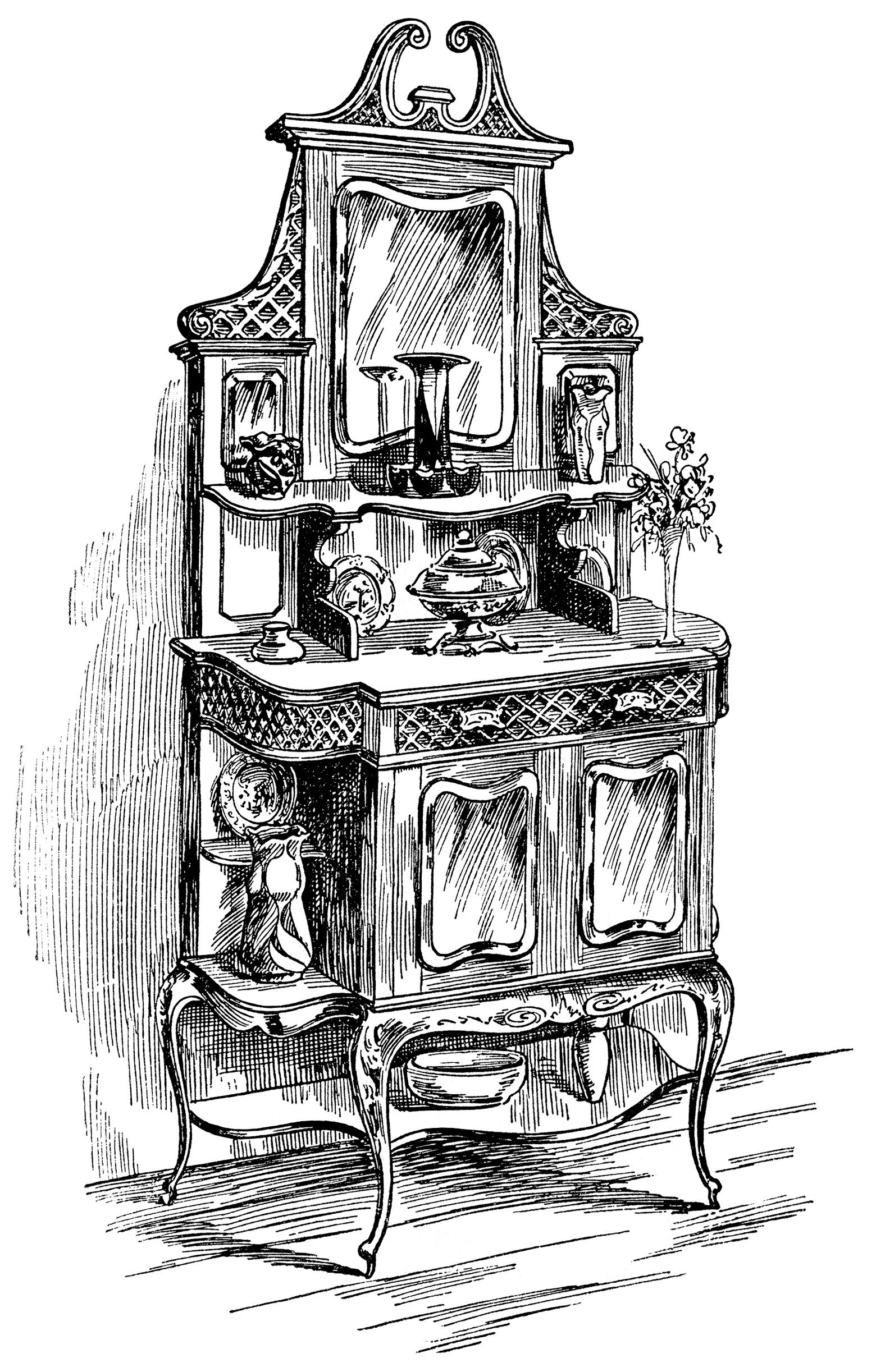 Antique chair drawing - Victorian Furniture Illustration Black And White Clip Art Vintage Kitchen Clipart Sideboard Cabinet