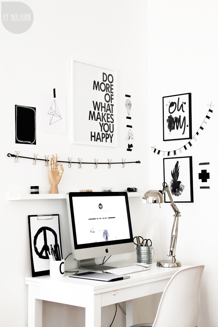 black and white office decor. Escritorio Más Black And White Office Decor