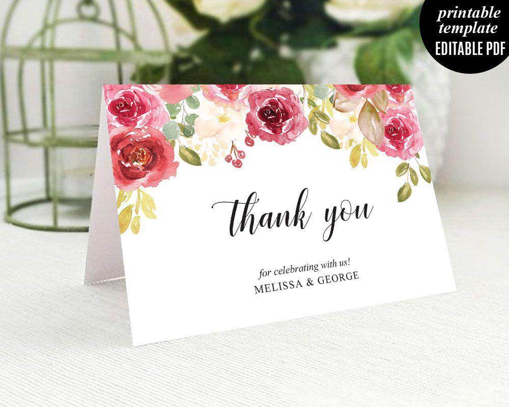 birdcage wedding invitation template%0A Wedding Thank you Label Template  Printable Wedding thank you card  Thank  you Card  Marsala Thank you Tag  Wedding Thank you Label  Burgundy
