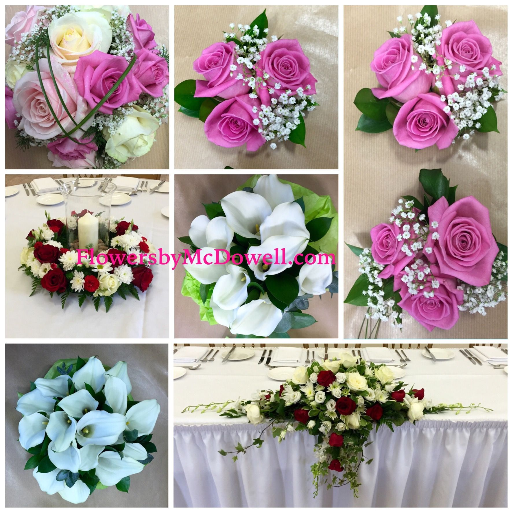 Brides pink Aqua roses, Ivory Avalanche roses, sweet Avalanche roses and steel grass. Flower girls Aqua roses and gyp hand tied
