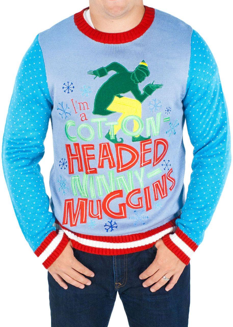 Mens Elf The Movie Cotton Headed Ninny Muggins Sweater In Blue Elf