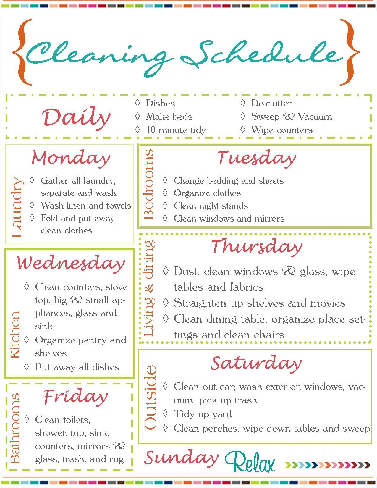 Download this weekly cleaning schedule for personal use only thank - Cleaning Schedule Because If A Read About Cleaning That Might Make It Happen Right