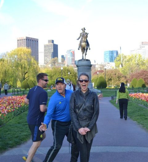 This girl got photobombed by Kevin Spacey out jogging...Apparently he jogged up, shouted PHOTOBOMB! and then ran off laughing. Excellent.